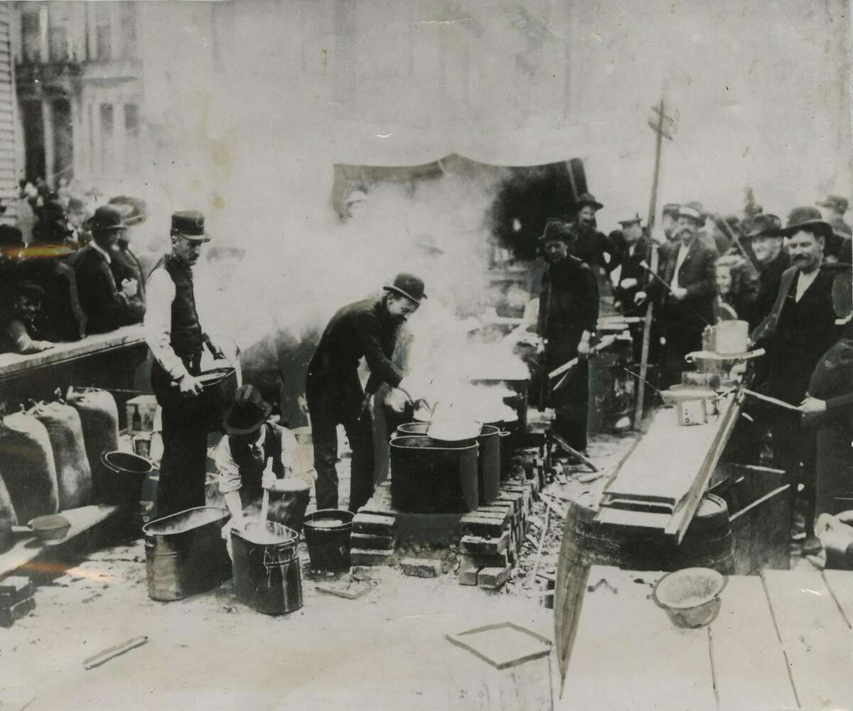 The uncertain condition of gas mains and chimneys for several days after the 1906 earthquake and fire in San Francisco made it illegal for anyone to cook or light a fire of any sort indoors. Public cook kitchens, like the one pictured here, made hot fires available to those who wanted to use them. Note wash boilers full of hot water at left.Ran on: 04-15-2006 After the 1906 quake, people on Sacramento Street are awestruck by the enormity of the devastation and the resulting fires in San Francisco. Ran on: 04-18-2011 Dr. von Zesch observes how wood and coal stoves were set up in the streets after gas mains broke. Ran on: 04-18-2011 Dr. von Zesch observes how wood and coal stoves were set up in the streets after gas mains broke. Ran on: 04-18-2011 Dr. von Zesch observes how wood and coal stoves were set up in the streets after gas mains broke.