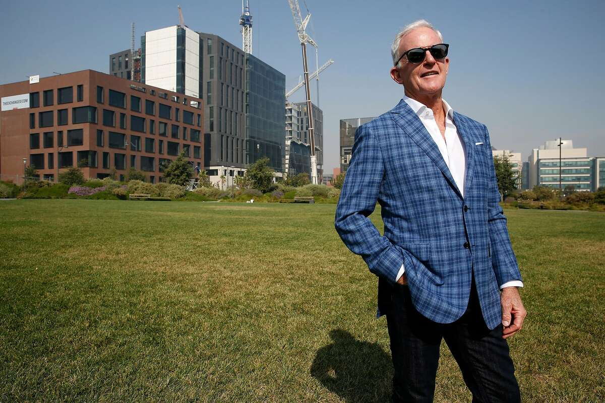 CEO John Kilroy of Kilroy realty corporation shows the 750,000 sq. foot lease (left) by Dropbox on 16th St. in the Mission Bay on Tuesday, October 10, 2017, in San Francisco, Calif.