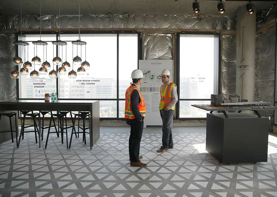 A space in the Exchange is part of the record 736,000-square-foot lease by Dropbox in the building on 16th Street. The leases are getting bigger and the demand by tech firms higher — and rents are way up, too. Photo: Liz Hafalia, The Chronicle