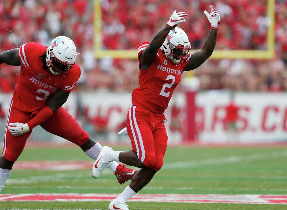 Houston Cougars safety Khalil Williams (2) celebrates a sack in the second quarter during the NCAA football game between the Texas Tech Red Raiders and the Houston Cougars at TDECU Stadium in Houston, TX on Saturday, September 23, 2017. Photo: Tim Warner, Freelance / Houston Chronicle