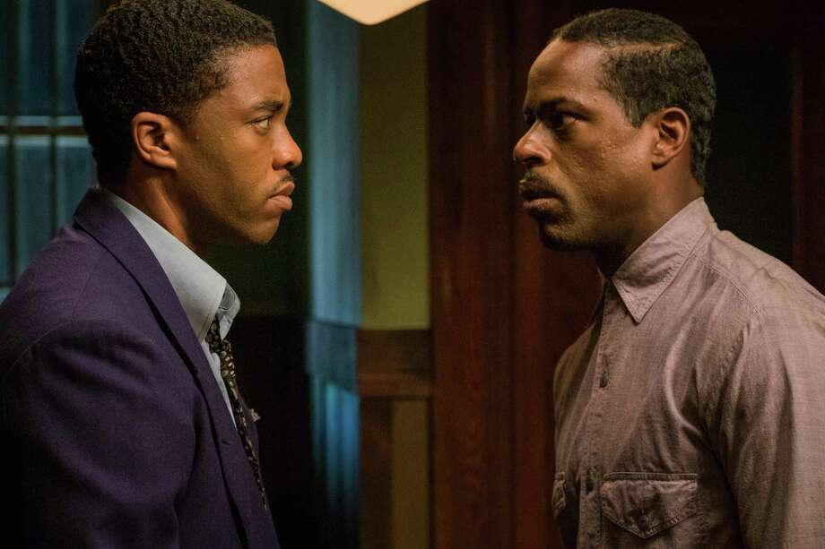 Chadwick Boseman, left, is the young Thurgood Marshall and Sterling K. Brown plays his client, a Bridgeport man on trial for rape and attempted murder in 1941. Photo: Barry Wetcher / Contributed Photo / Connecticut Post Contributed