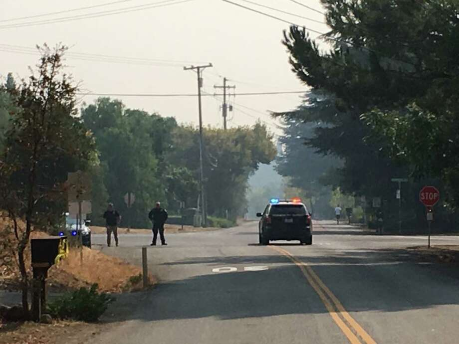 The California Highway Patrol closes Green Valley Road at Rockville Road on Solano County during the Atlas Fire on Tuesday, October 10, 2017. Photo: CHP