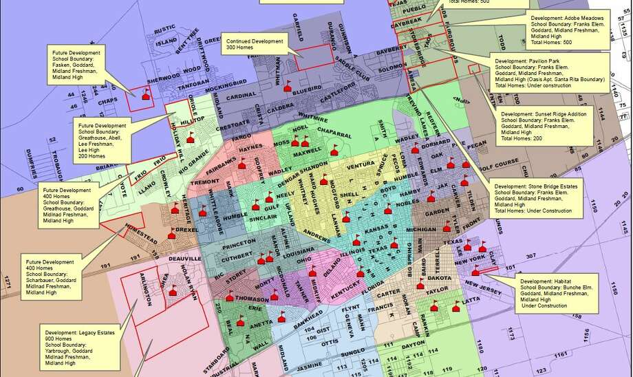 Midland ISD Chief Operations Officer James Riggen on Monday presented trustees with a map that showed new development is being planned, mostly in northeast, northwest and west Midland.View the complete map here...