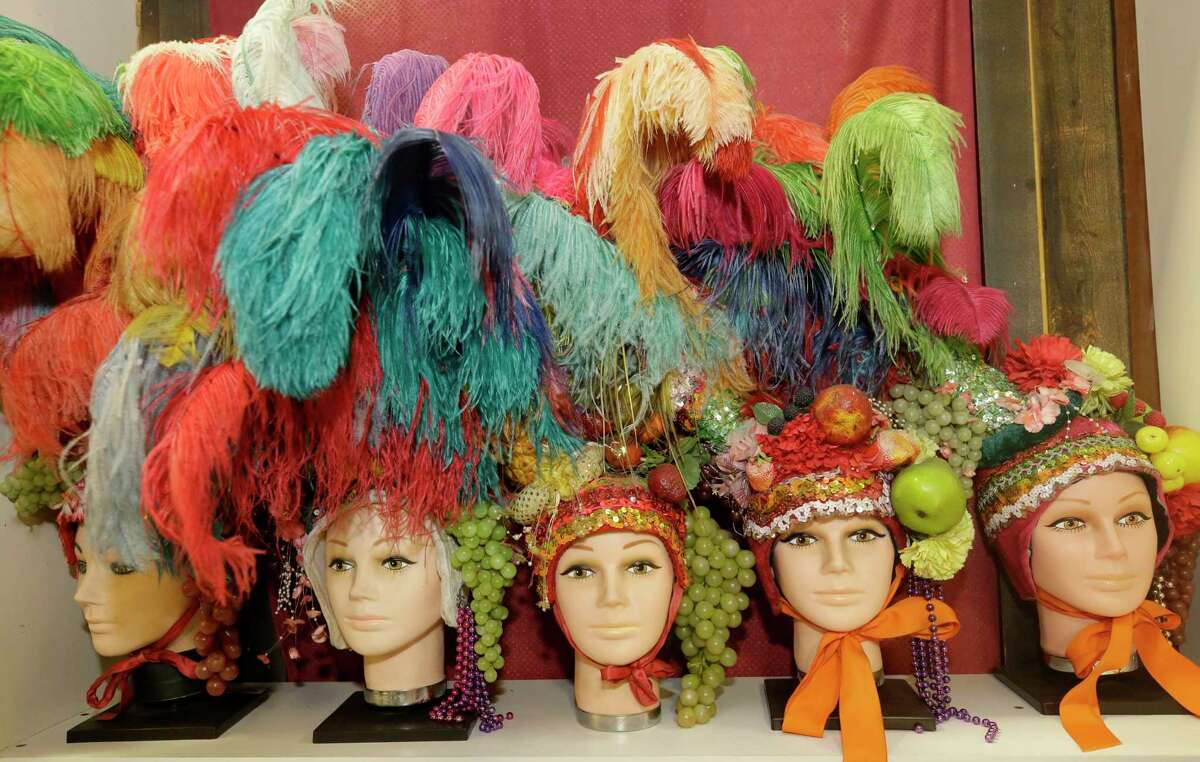 Frankel's Costume Shop offers headpieces featuring feathers and fruit. The long-running shop will close late this year. It began in 1950 as a magic store.