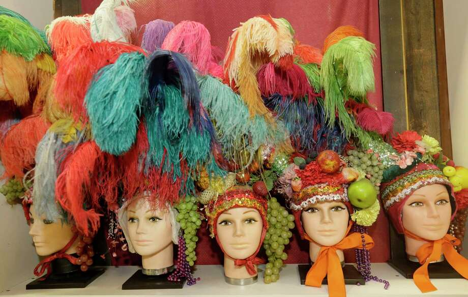 Frankel's Costume Shop offers headpieces featuring  feathers and fruit. The long-running shop will close late  this year. It began in 1950 as a magic store. Photo: Melissa Phillip, Houston Chronicle / © 2017 Houston Chronicle