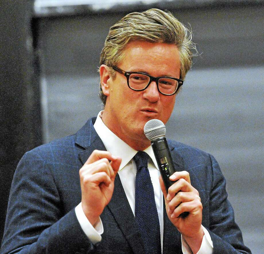 (Peter Casolino-New Haven Register)  MSNBC TV host, Joe Scarborough, talks during a William F. Buckley, Jr. program at Yale.  4/16/14 pcasolino@newhavenregister.com Photo: Peter Casolino / Journal Register Co.