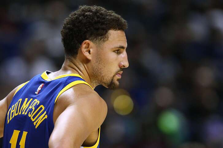 SHANGHAI, CHINA - OCTOBER 08: Klay Thompson #11 of the Golden State Warriors looks on during the game between the Minnesota Timberwolves and the Golden State Warriors as part of 2017 NBA Global Games China at Mercedes-Benz Arena on October 8, 2017 in Shanghai, China. (Photo by Zhong Zhi/Getty Images)