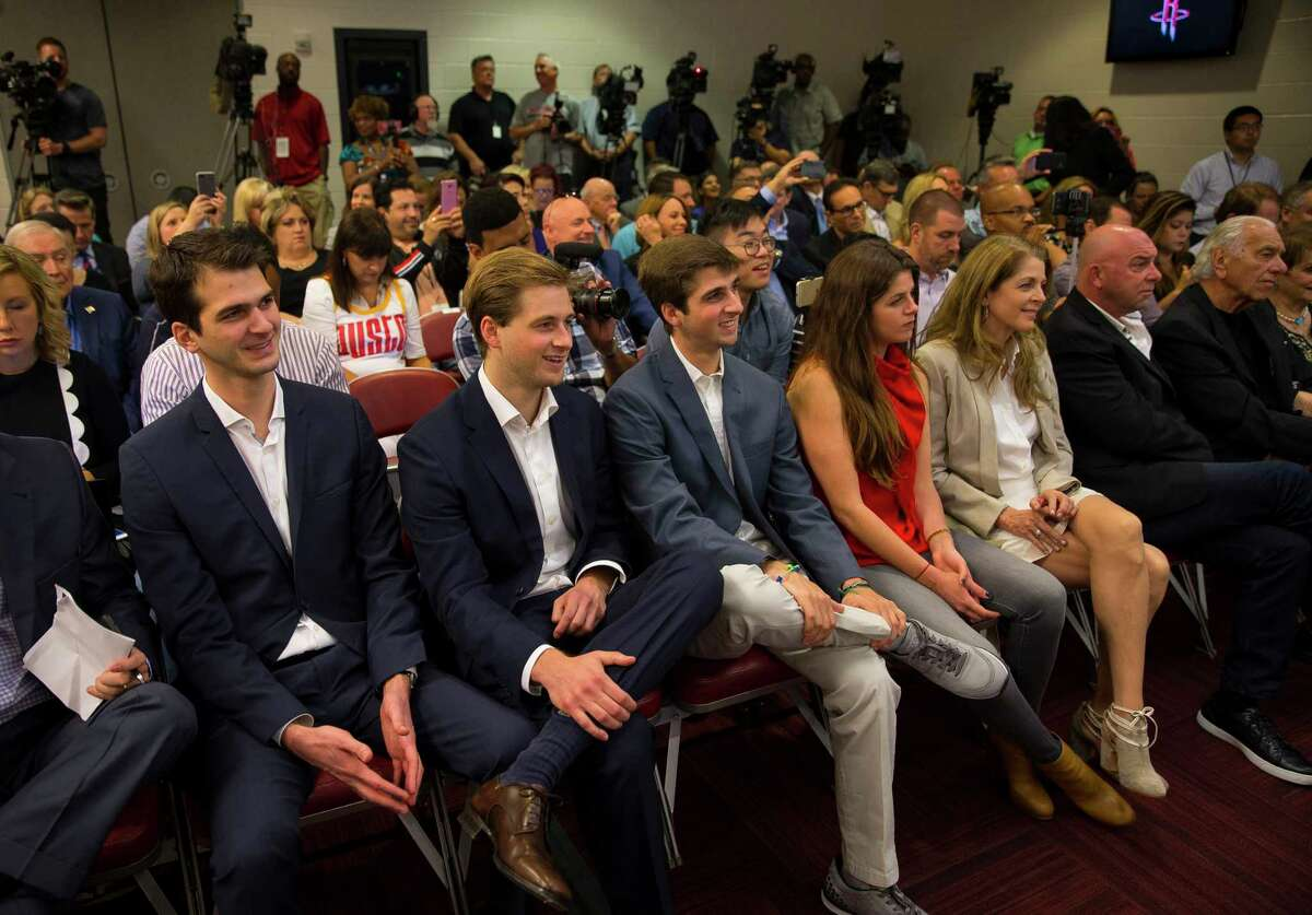 Tilman Fertitta's family fills the front row during a press conference held by Fertitta, the new owner of the Houston Rockets, at Toyota Center, Tuesday, October 10, 2017. (Mark Mulligan / Houston Chronicle)