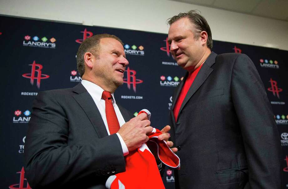 Tilman Fertitta, left, has owned the Rockets for only four months, but he is the beneficiary of the best team Daryl Morey has assembled in his 11 seasons as general manager. Photo: Mark Mulligan, Houston Chronicle / 2017 Mark Mulligan / Houston Chronicle