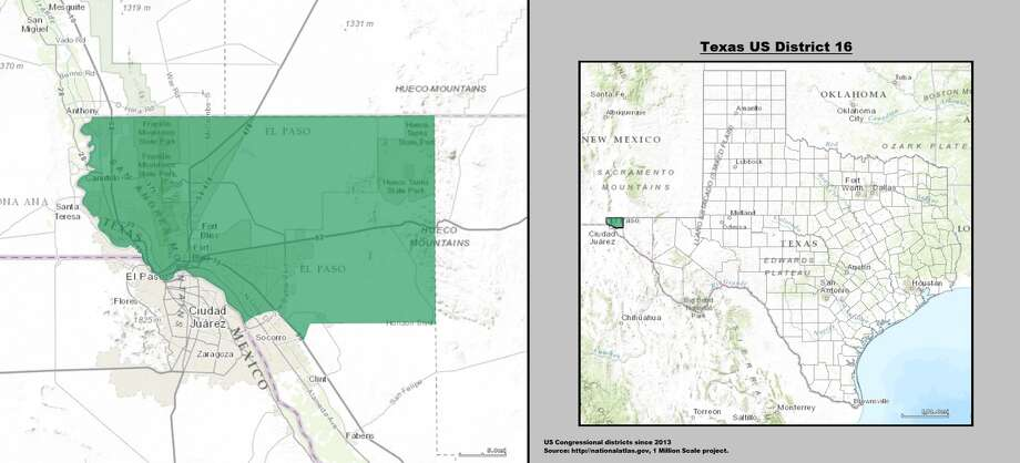 36. Beto O'Rourke (El Paso) - Texas's 16th congressional districtCompactness score: 0.541More squiggly than: 1.4 percent of U.S. districts Photo: Wikicommons/Nationalatlas.gov