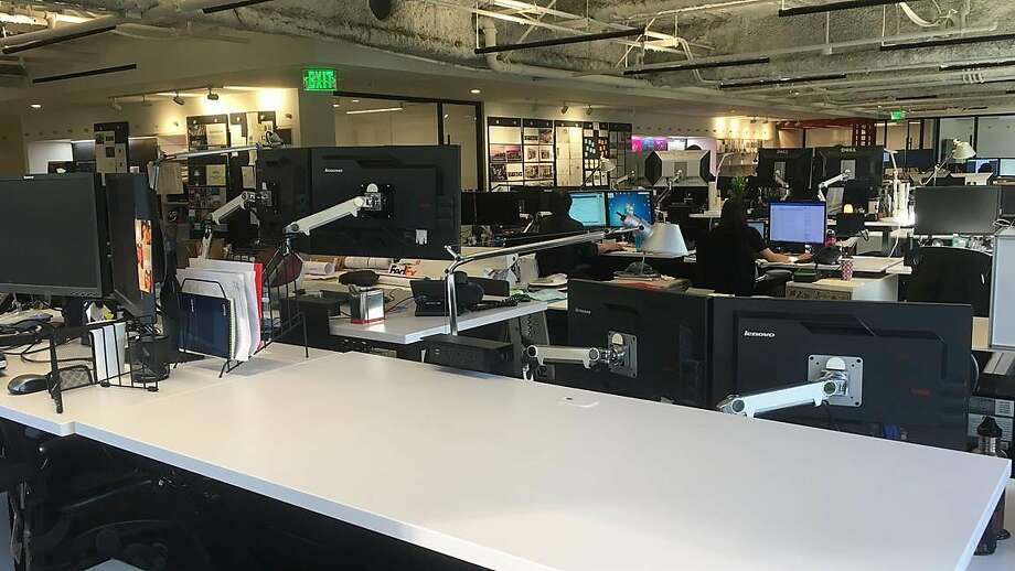 The architectural firm Gensler is already creating software to help it design buildings around the idea that workers — wearing virtual, augmented or mixed reality headsets, glasses or even contact lenses — might only require an empty desk, which also could become digital eventually. Photo: Gensler