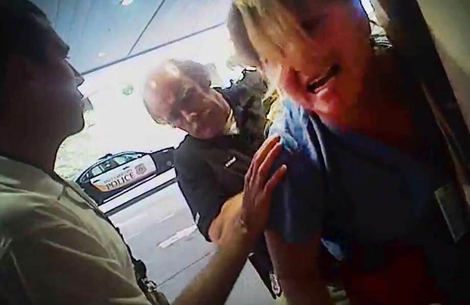 A frame grab from a video taken from a police body camera shows the arrest of nurse Alex Wubbels. Photo: Associated Press