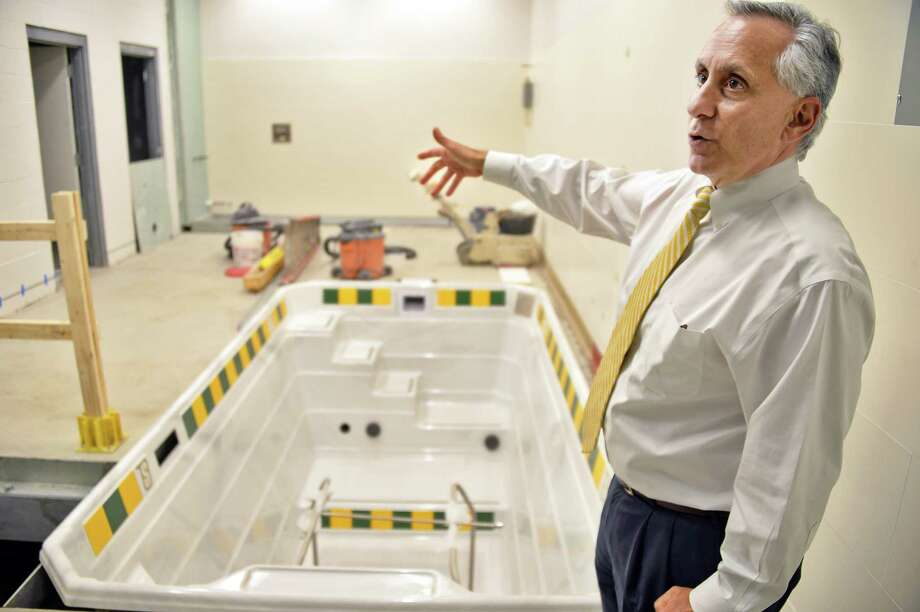 Siena's AD John D'Argenio shows off the new hydrotherapy facility in their new sports medicine suite under construction as part of Siena's $13.5 million in athletic department renovations Friday Sept. 29, 2017 in Colonie, NY.  (John Carl D'Annibale / Times Union) Photo: John Carl D'Annibale / 20041715A