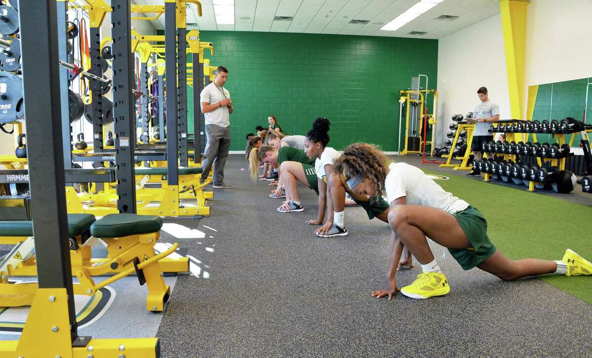 Siena's women's basketball players work out in their new strength and conditioning suite Friday Sept. 29, 2017 in Colonie, NY. (John Carl D'Annibale / Times Union)