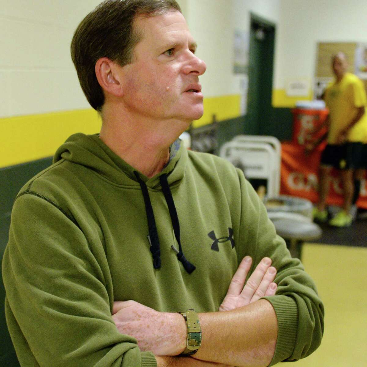 Siena's athletic trainer Greg Dashnaw discusses plans for their new sports medicine suite under construction as part of Siena's $13.5 million in athletic department renovations Friday Sept. 29, 2017 in Colonie, NY. (John Carl D'Annibale / Times Union)