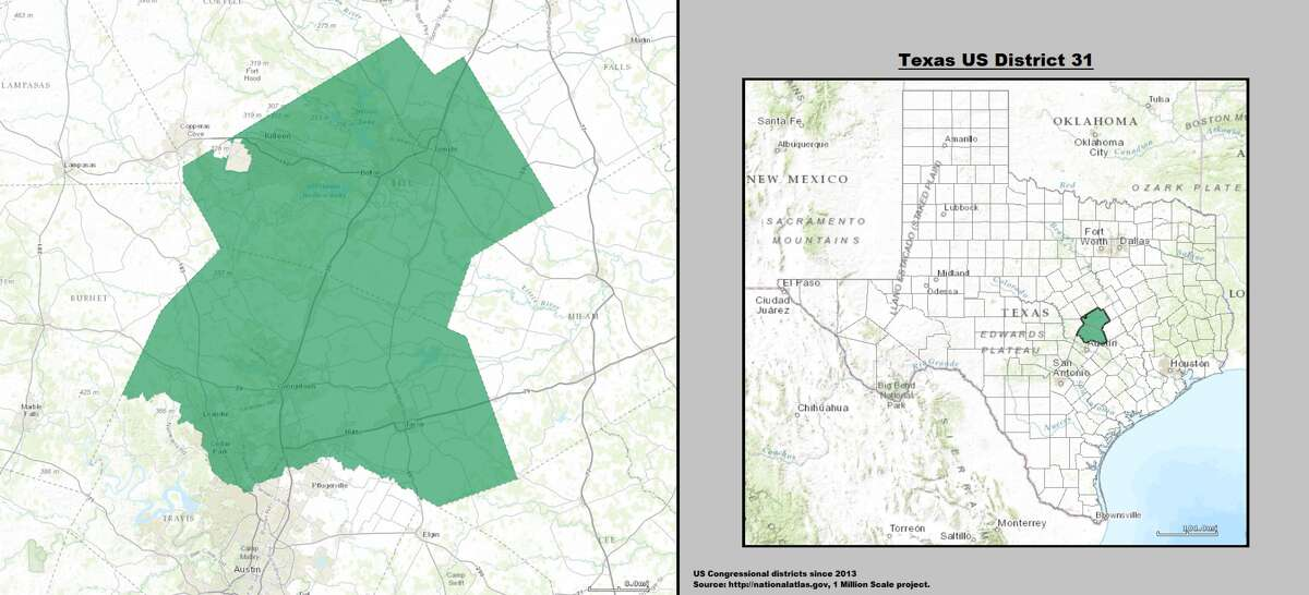 34. John Carter (Round Rock)- Texas's 31stcongressional district Compactness score: 0.453 More squiggly than:6 percent of U.S. districts