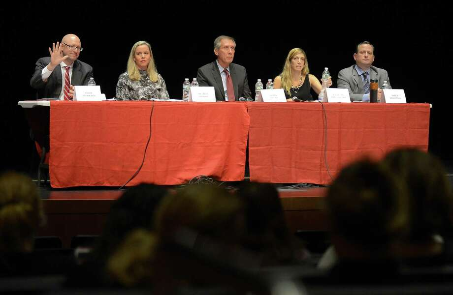 Board of Education candidates, from left, Republican Jason Auerbach, Democrat Meghan Olsson, Republican Peter Sherr, Democrat Kathleen Stowe and Republican Peter Bernstein are introduced prior to their first debate at Greenwich High School's Performing Arts Center in Greenwich, Connecticut on Tuesday, Oct. 10, 2017. Photo: Matthew Brown / Hearst Connecticut Media / Stamford Advocate