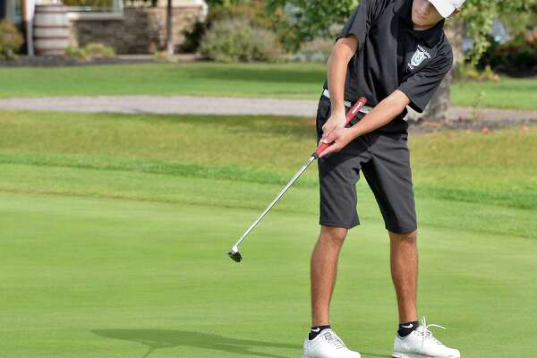 Schalmont's Lucas Parisi putts during the first day qualifier Section II golf championships at Orchard Creek Golf Course Tuesday Oct. 10, 2017 in Altamont, NY.  (John Carl D'Annibale / Times Union)