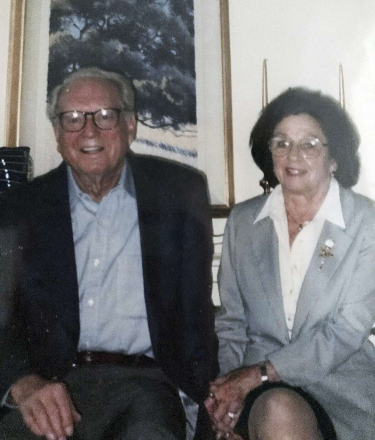 This undated photo provided by their son Michael Rippey shows Charles and Sara Rippey. Charles, 100, and Sara, 98, were unable to leave their Napa, Calif., home, and died when the Tubbs fire swept through. Their bodies were found Monday, Oct. 9, 2017. (Courtesy Michael Rippey via AP)