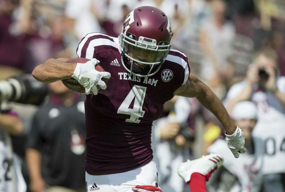 Texas A&M wide receiver Damion Ratley races to the end zone for a touchdown against Louisiana-Lafayette during the first quarter on Sept. 16, 2017, in College Station. Photo: Sam Craft /Associated Press / Internal