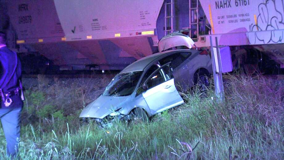 The train struck the car around 3:15 a.m. near Quintana Road and Southwest Loop 410. Photo: Ken Branca