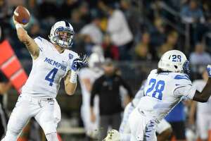 Memphis quarterback Riley Ferguson (4) threw for 431 yards and seven touchdown's against Connecticut in a 70-31 rout at Pratt & Whitney Stadium at Rentschler Field in East Hartford, Conn., on Friday, Oct. 6, 2017.