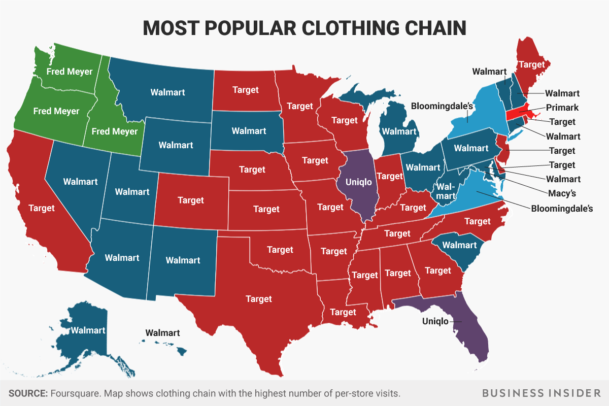 the most popular shopping chain in each state san