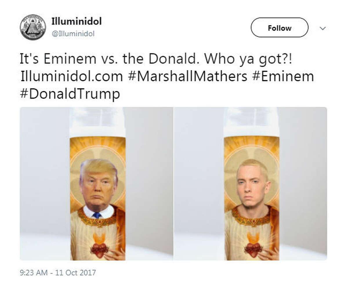 """It's Eminem vs. the Donald. Who ya got?! http://Illuminidol.com #MarshallMathers #Eminem #DonaldTrump"" Source: Twitter"
