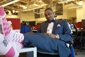 Channel 2's Khambrel Marshall models his #IAmMoreThanPink look.