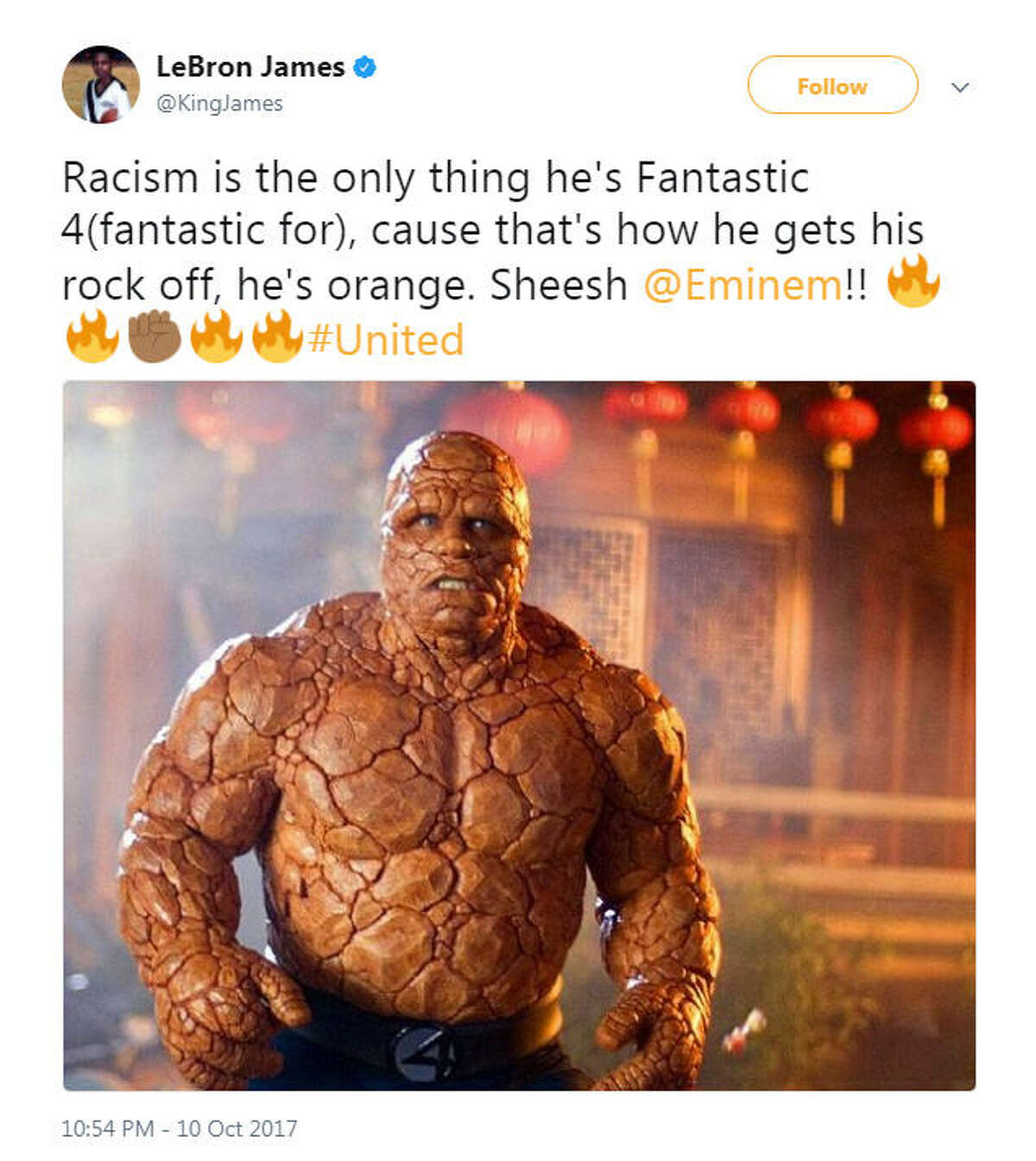 """""""Racism is the only thing he's Fantastic 4(fantastic for), cause that's how he gets his rock off, he's orange. Sheesh @Eminem!!"""