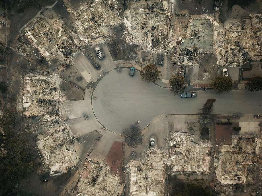 The remains of the homes in the Coffey Park neighborhood are seen from the air in Santa Rosa, Calif. on Tuesday, October 10, 2017. Photo: Elijah Nouvelage, Special To The Chronicle