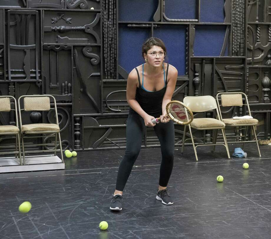 Ellen Tamaki in rehearsal as Billie Jean King in the World Premiere production of Balls at Stages Repertory Theatre Photo: Anthony Rathbun