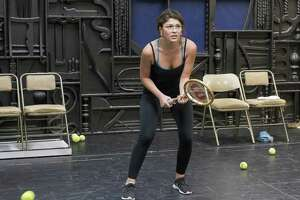 Ellen Tamaki in rehearsal as Billie Jean King in the World Premiere production of Balls at Stages Repertory Theatre