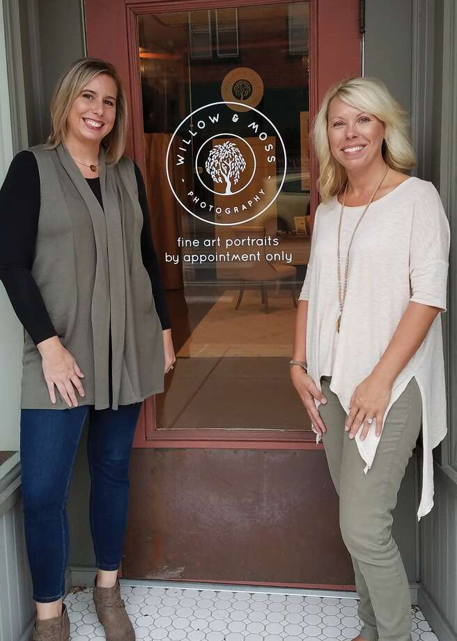 Danielle Morhaus and Nichole Kolb outside their new photography studio, Willow and Moss, on Vandalia in downtown Edwardsville. Photo: Carol Arnett • Carnett.edwi@gmail.com
