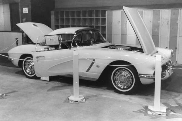 Midlander Roger Downing's 1962 Corvette. It was part of the first Mid-Michigan Antique and Custom Auto Show at Midland Civic Arena. October 1980