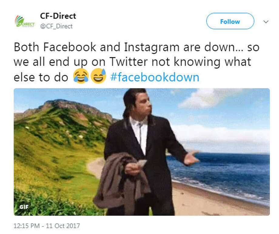 Facebook and Instagram were down on Oct. 11, 2017, causing a Twitter to react with memes.Image source: Twitter Photo: Twitter