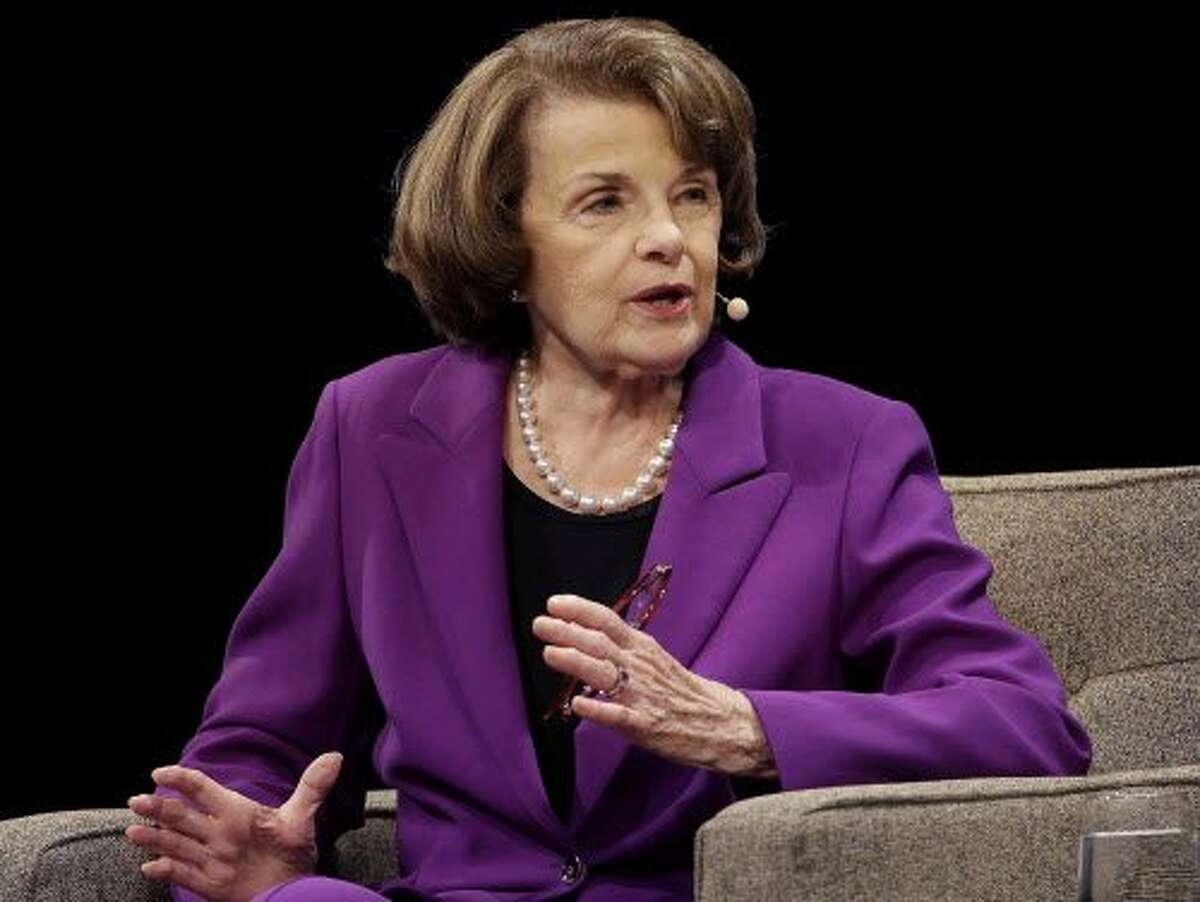 """FILE - In this Aug. 29, 2017, file photo, United States Sen. Dianne Feinstein, D-Calif., speaks at the Commonwealth Club in San Francisco. Feinstein, a veteran California Democrat, said Monday, Oct. 9, 2017, that she's running for another term. The 84-year-old took to Twitter to declare that """"I'm all in."""" (AP Photo/Jeff Chiu, File)"""