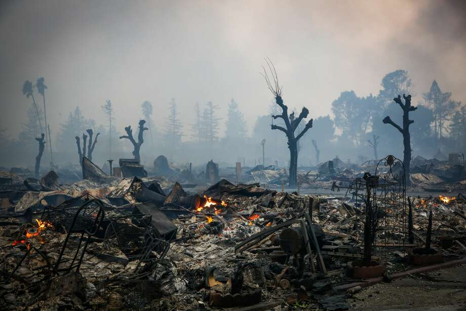 Homes are seen burnt to the groud after a fire tore through the Journey's End mobile home park on Mendocino Anvenue in Santa Rosa, Calif., on Monday, Oct. 9, 2017. Photo: Gabrielle Lurie/The Chronicle