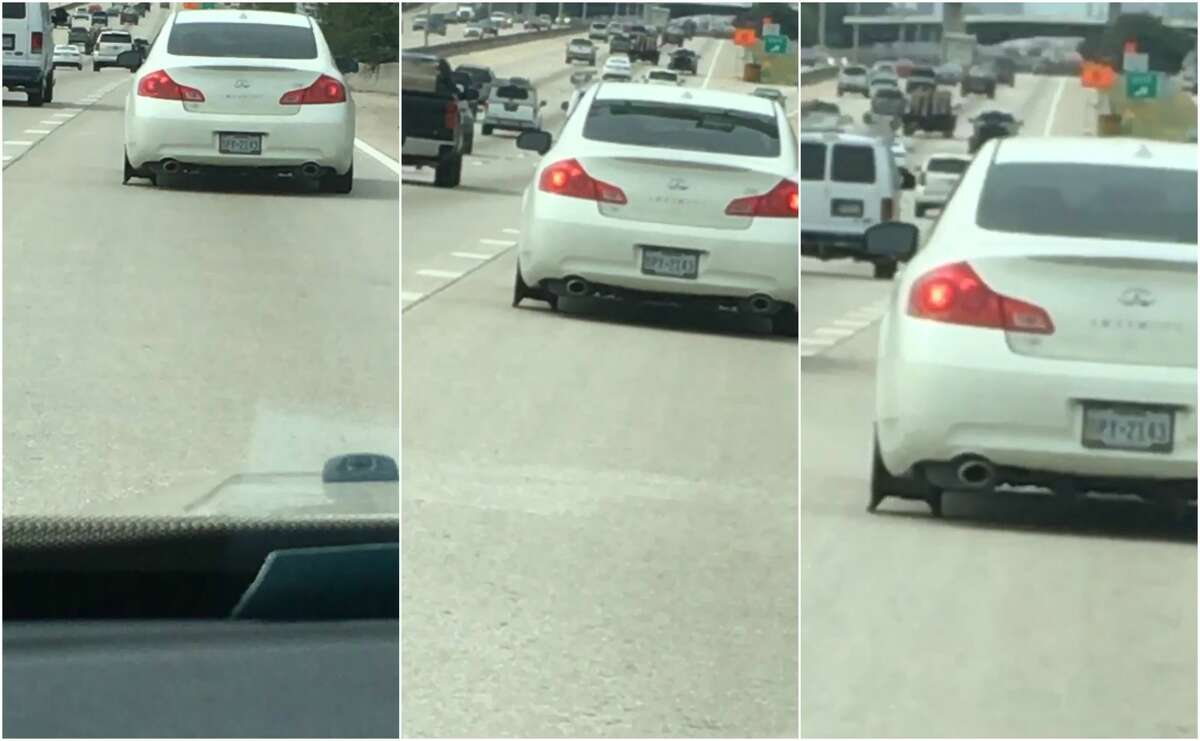 On the way back from her lunch break Tuesday, a Houston woman saw an Infinity driving in front of her missing a tire.