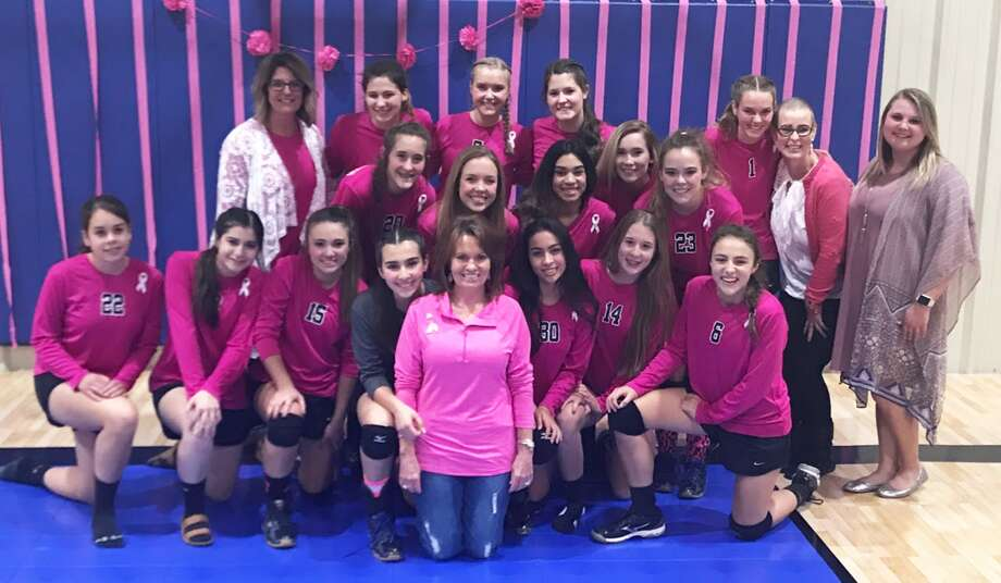 "The Plainview Christian Academy volleyball team had their annual ""Pink Out"" Breast Cancer Awareness match at the Eagles' Nest Tuesday night. All proceeds from the match went to a PCA teacher and a PCA mom who are currently battling breast cancer. The Lady Eagles swept Southcrest in three sets. Photo: Courtesy Photo"