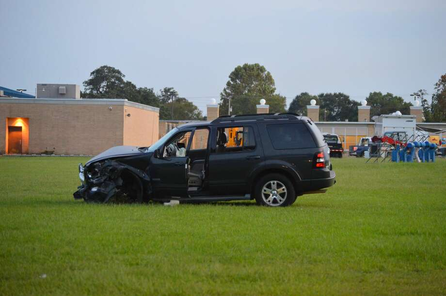 A driver wrecked in an Orange County field where children were playing football Tuesday, October 11, 2017. Photo: Provided By Eric Williams