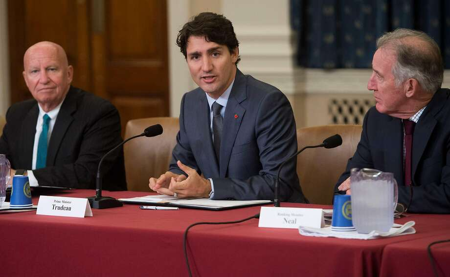 Canadian Prime Minister Justin Trudeau (center) meets with members of the House Ways and Means Committee on Capitol Hill in Washington, D.C. Photo: SAUL LOEB, AFP/Getty Images