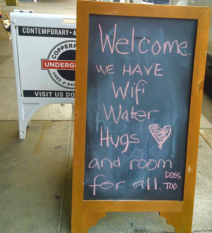 A sandwich board at Copperfield's Books' Petaluma store.