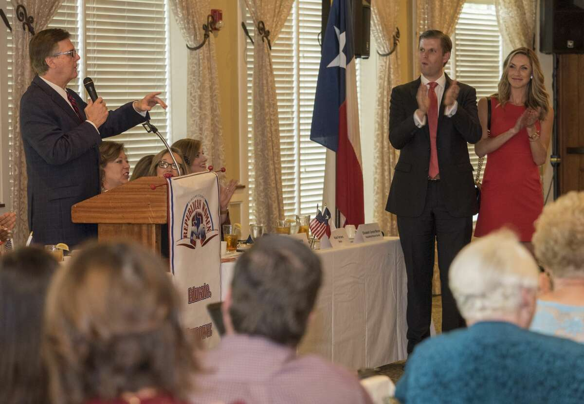Texas Lt. Governor Dan Patrick thanks Eric and Lara Trump after he spoke 10/11/17 at the Midland County Republican Women's luncheon. Tim Fischer/Reporter-Telegram