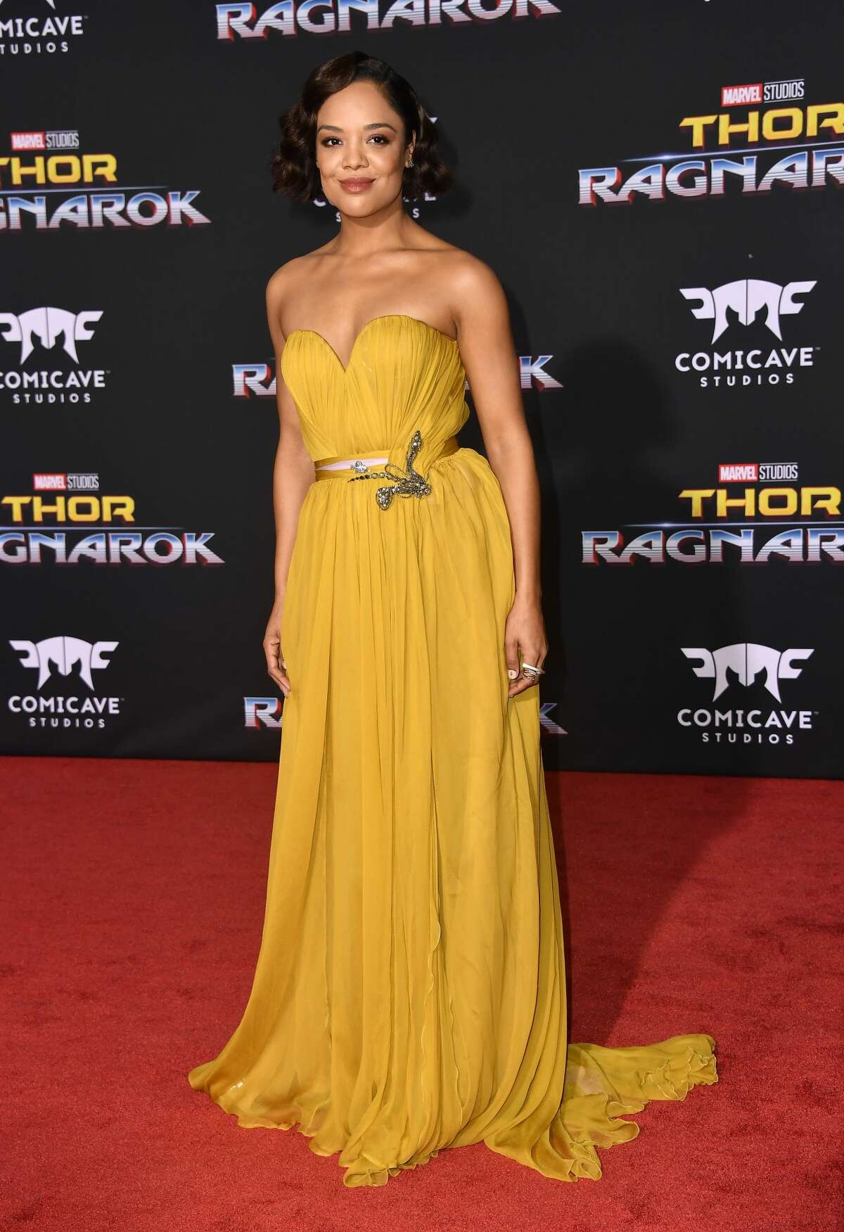LOS ANGELES, CA - OCTOBER 10: Actress Tessa Thompson arrives at the Premiere Of Disney And Marvel's