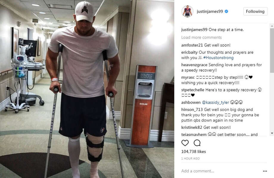 PHOTOS: A look at J.J. Watt immediately after the injury Sunday nightJ.J. Watt posted this photo to Instagram after suffering a tibial plateau fracture in Sunday night's game against the Kansas City Chiefs. Photo: Instagram