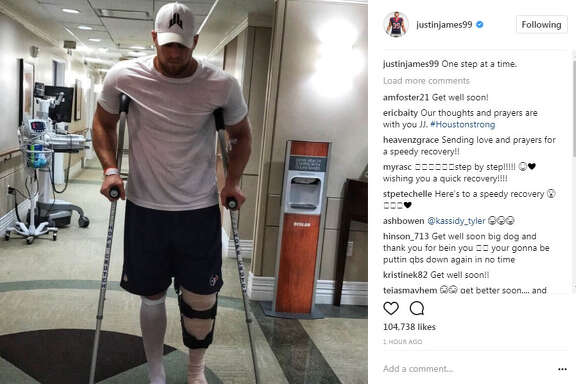 J.J. Watt posted this photo to Twitter after suffering a tibial plateau fracture in Sunday night's game against the Kansas City Chiefs.