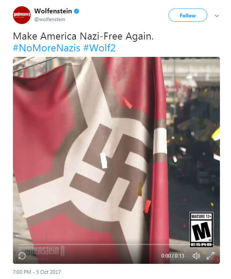 "Alt-right members have taken offense to Bethesda's slogan ""Make America Nazi free again"" as marketing for the game company's latest Wolfenstein game. Image source: TwitterSee Twitter reactions to Bethesda's slogan up ahead.  Photo: Twitter"