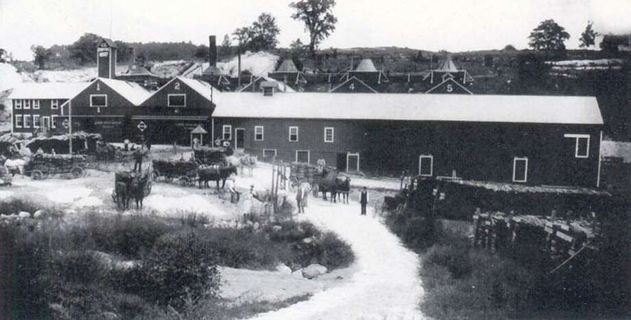 """The limestone quarrying business of Charles E. Griffin at the turn of the 20th century in the Boardman district of New Milford resulted in a small village emerging to process the limestone and to house and feed the workers, as shown in this Clarence Evans photograph about 1900. If you have a """"Way Back When"""" photo to share, contact Deborah Rose at drose@newstimes.com or 860-355-7324. Photo: Courtesy Of John Pawloski / The News-Times Contributed"""