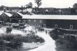 """The limestone quarrying business of Charles E. Griffin at the turn of the 20th century in the Boardman district of New Milford resulted in a small village emerging to process the limestone and to house and feed the workers, as shown in this Clarence Evans photograph about 1900. If you have a """"Way Back When"""" photo to share, contact Deborah Rose at drose@newstimes.com or 860-355-7324."""